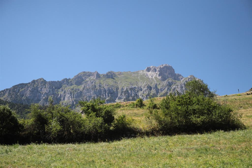 Prati e montagne viste dalla casa