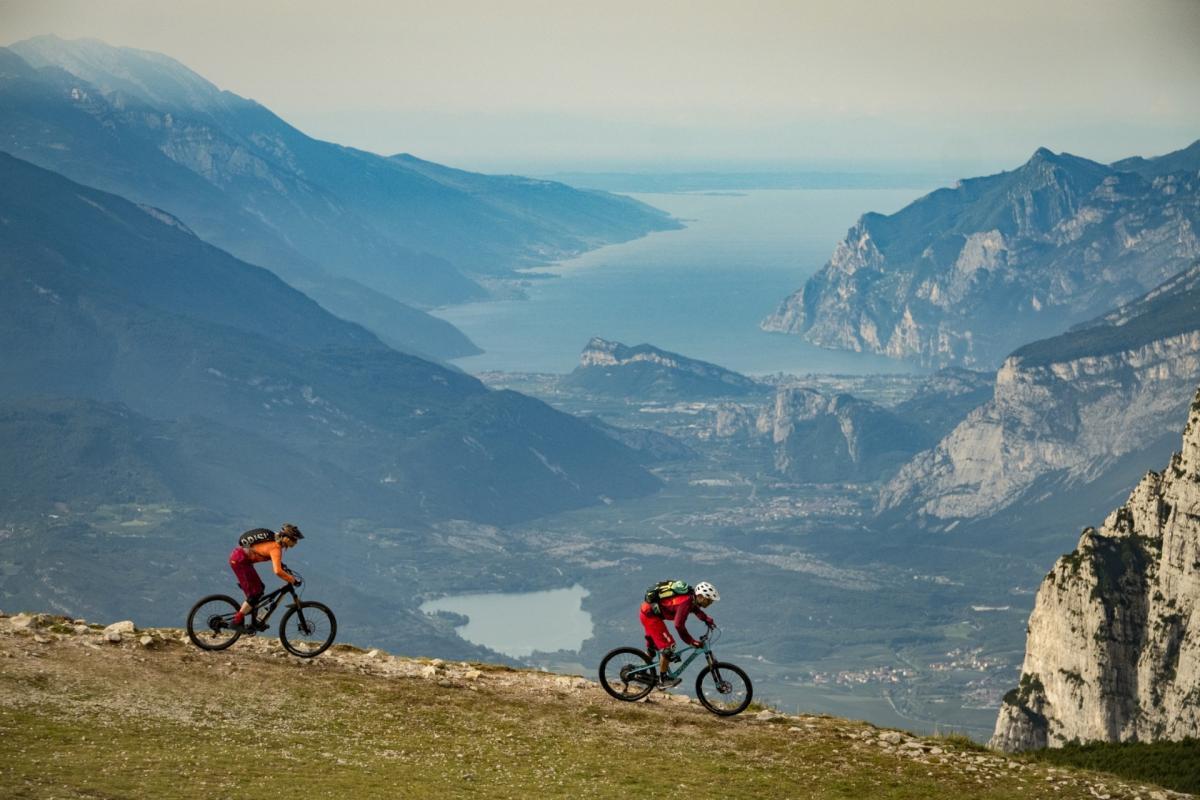 Bikers in Paganella vista Lago di Garda